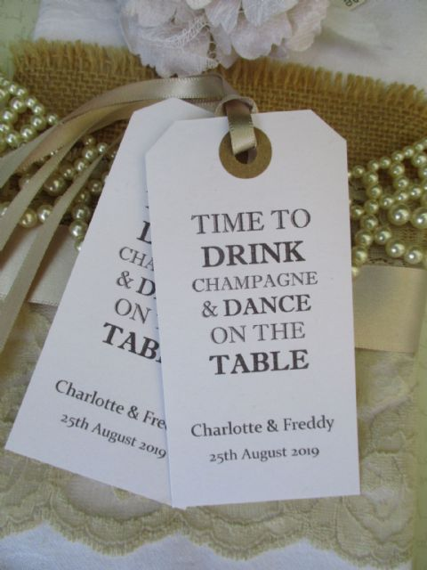 10 Time To Drink Champagne - Celebration Wedding Tag
